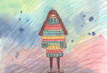 A woman is wearing a sweater that's too large for her so it covers half of her face and hangs down too low.