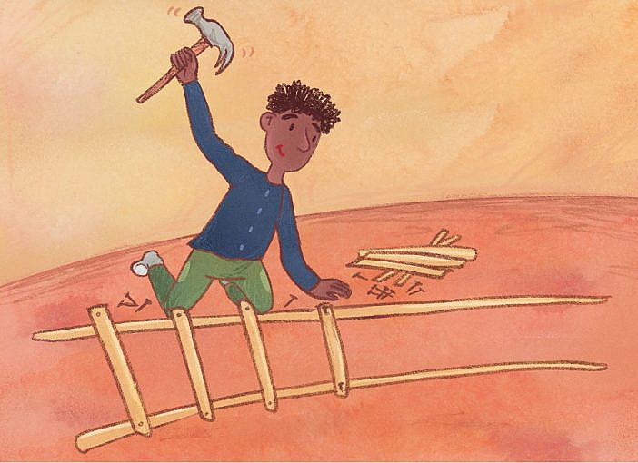 A man is hammering together a ladder.