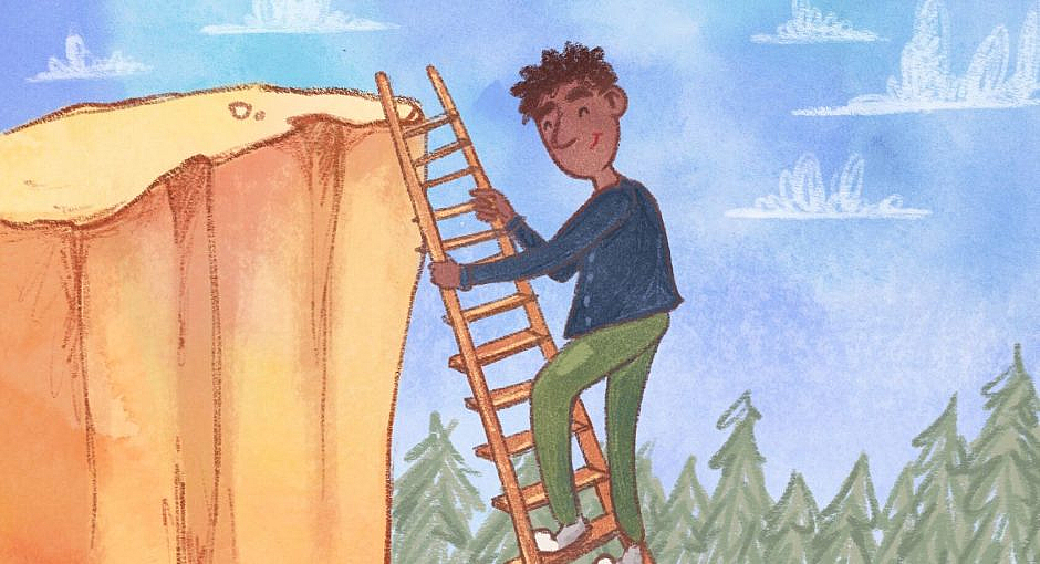 A man is using a ladder to climb up a cliff.