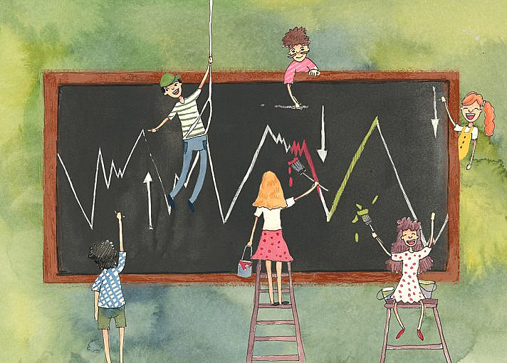 A group of people are all working together to paint a line graph with arrows pointing in different directions.