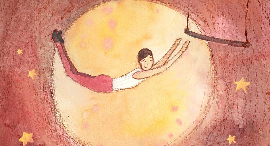A trapeze artist leaping for a trapeze with a content look on his face.