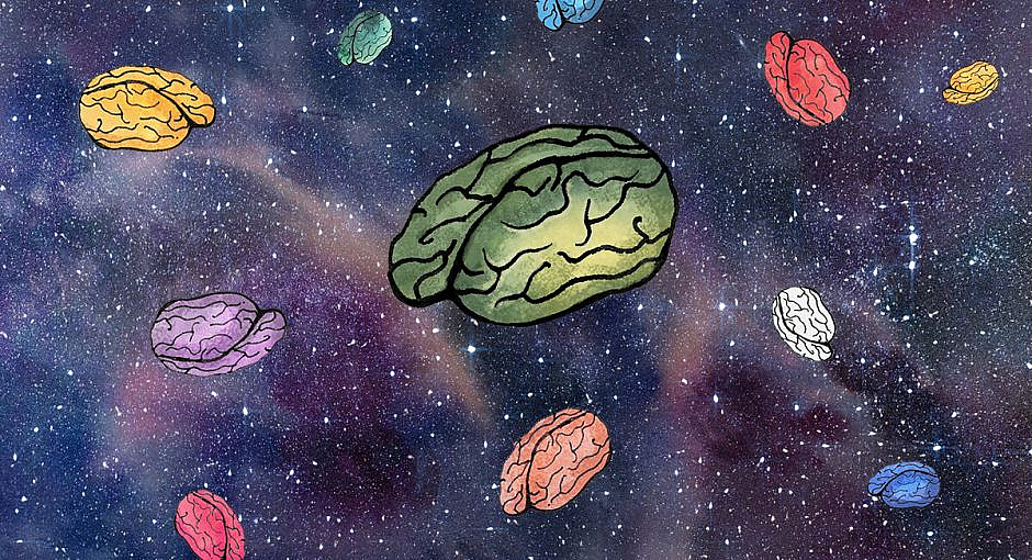 A bunch of different colored brains floating in space with stars in the background. Sort of trippy.