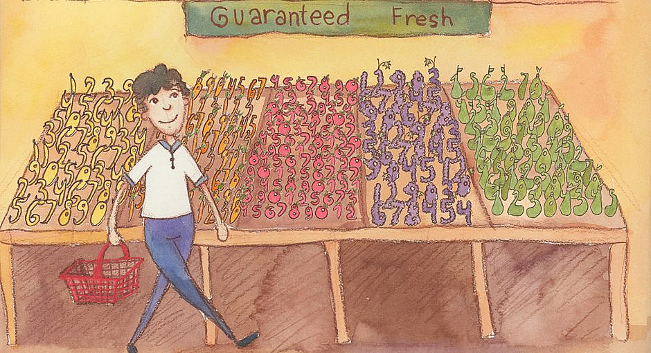 "A person shopping in a grocery store walking past produce bins with a sign saying ""guaranteed fresh"". The produce bins have vegetables in the shapes of numbers."