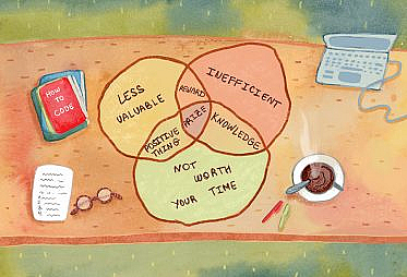 "An overhead view of a desktop showing books on how to code and a venn diagram showing the intersection of ""less valuable"", ""inefficient"", and ""not worth your time"" with ""prize"" in the middle."