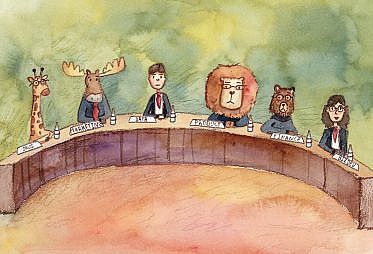 "A bunch of different being sin suits around a table. Some of them are animals (a giraffe, a lion, a bear) and some are humans. Each has a placard showing their line-of-business like ""sales"", ""marketing"", ""data"", ""product"", etc."