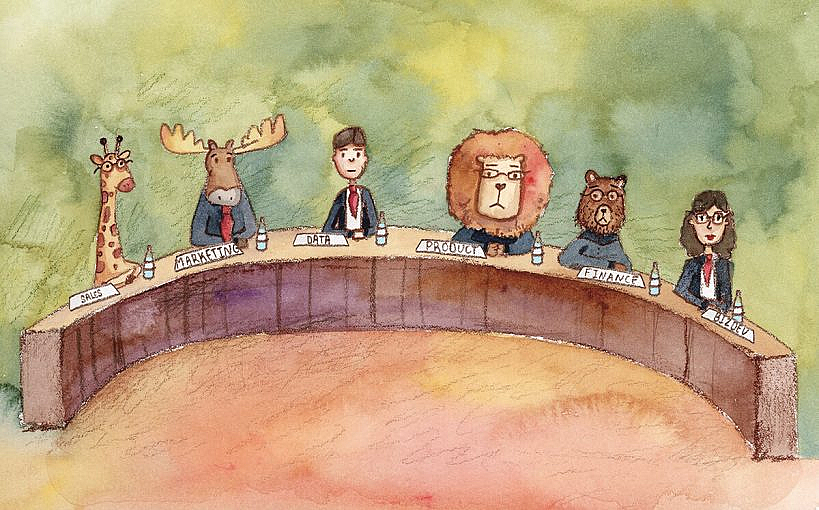 """A bunch of different being sin suits around a table. Some of them are animals (a giraffe, a lion, a bear) and some are humans. Each has a placard showing their line-of-business like """"sales"""", """"marketing"""", """"data"""", """"product"""", etc."""