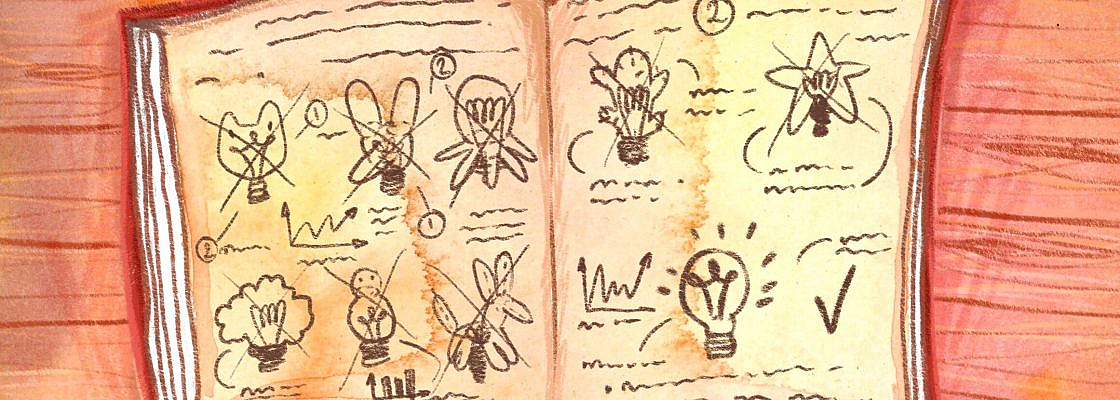 A notebook open to lots of pictures of draft lightbulb ideas in funny shapes (like a dog or a cactus) scratched out before showing a normal lightbulb with a checkmark.