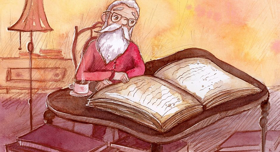 An old man with a long beard and glasses reading a giant old stained book.