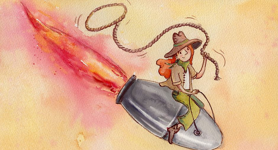 A cowgirl with a lasso riding a silver bullet in a direction that appears to be heading toward the ground.