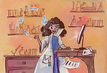 A data scientist in an oversized lab coat is juggling beakers and doing lots of things all at once.